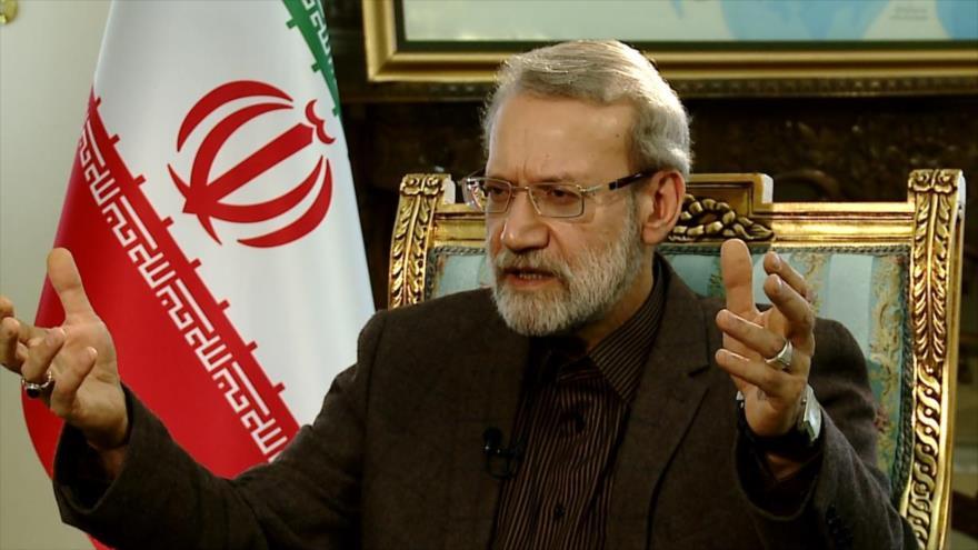 El presidente del Parlamento de Irán, Ali Lariyani, en una entrevista con la cadena Al-Alam, 17 de marzo de 2019.