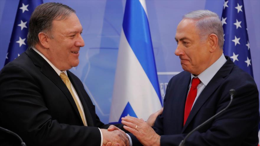 El secretario de Estado de EE.UU., Mike Pompeo (izda.), junto al premier israelí, Benjamín Netanyahu, 20 de marzo de 2019. (Fuente: AFP)