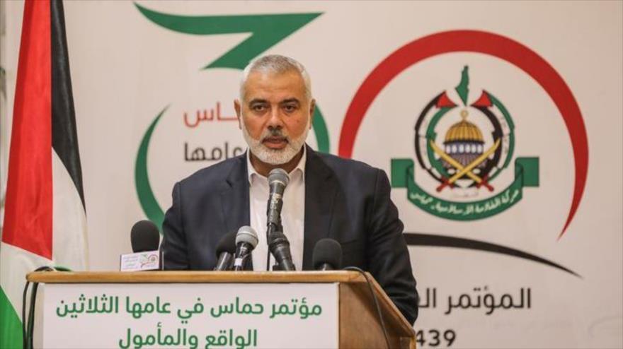 El líder del Movimiento de Resistencia Islámica de Palestina (HAMAS), Ismail Haniya, da un discurso desde la ciudad de Gaza, 18 de diciembre de 2018.