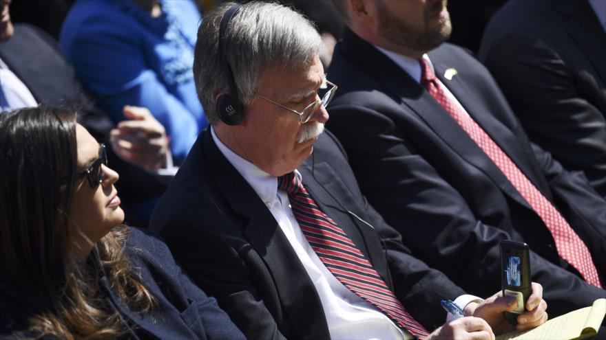 El asesor de Seguridad Nacional de EE.UU., John Bolton, durante una conferencia de prensa de Donald Trump en la Casa Blanca, 19 de marzo de 2019. (Foto: AFP)