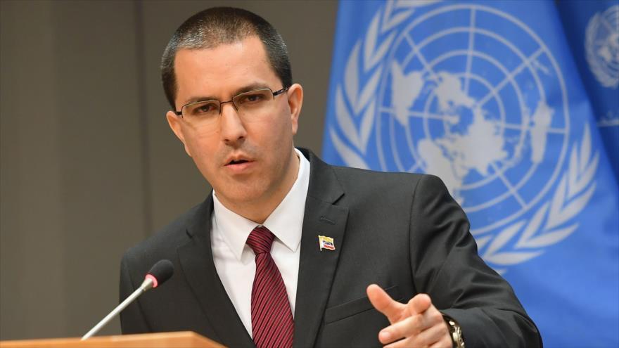 El canciller de Venezuela, Jorge Arreaza, habla en una conferencia de prensa en la sede de la ONU en Nueva York, 22 de febrero de 2019. (Foto: AFP)