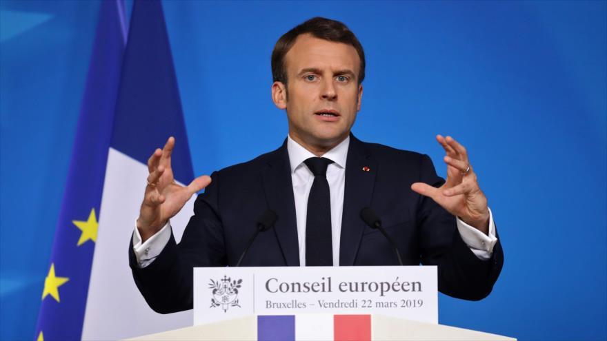 Emmanuel Macron, presidente de Francia, habla en una rueda de prensa en Bruselas, 22 de marzo de 2019. (Foto: AFP)