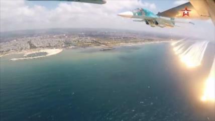Vídeo: Caza ruso ensaya en Siria maniobras frente a fuego enemigo