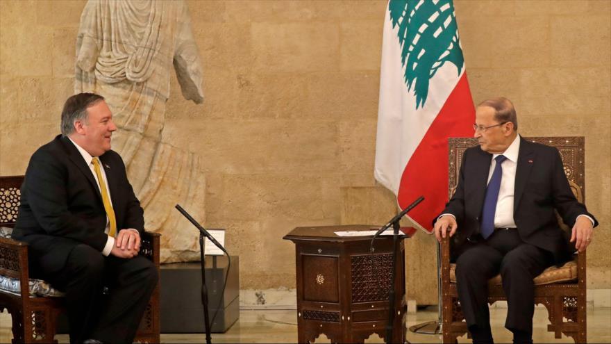 El presidente libanés, Michel Aoun (dcha.), se reúne con el secretario de Estado de EE.UU., Mike Pompeo, 22 de marzo de 2019. (Foto: AFP)