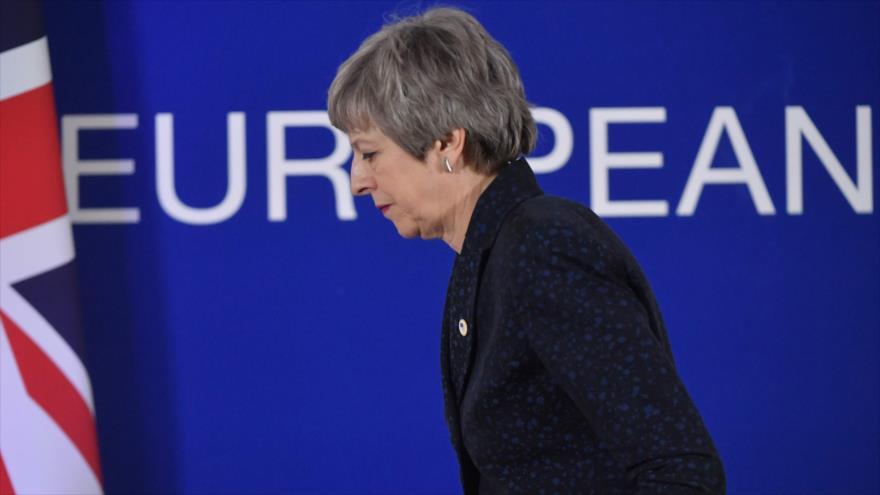 La primera ministra británica, Theresa May, sale de una conferencia de prensa, 22 de marzo de 2019, Bruselas. capital de Bélgica, (Foto: AFP)