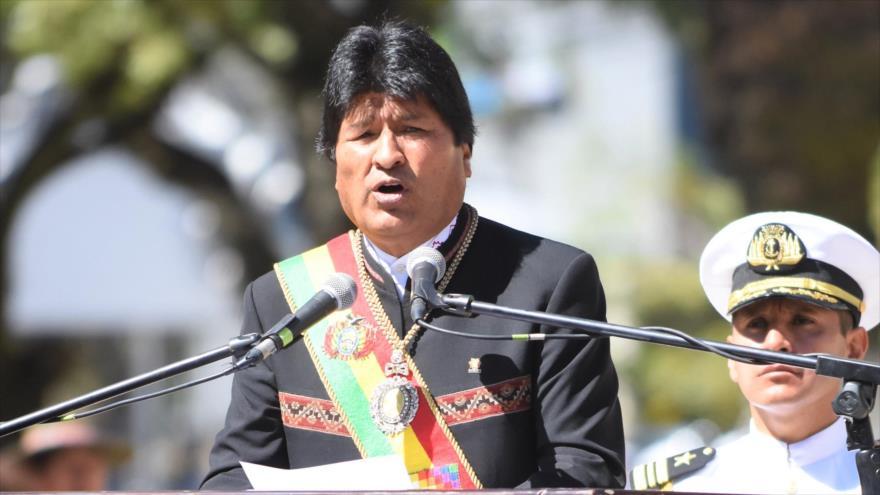 El presidente de Bolivia, Evo Morales, en los actos de conmemoración por el Día del Mar, en la plaza Avaroa, 23 de marzo de 2019. (Foto: ABI)