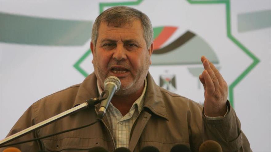 El líder de la Yihad Islámica Palestina, Jaled al-Batsh, ofrece un discurso.