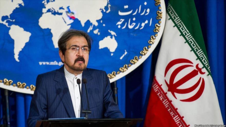 El portavoz del Ministerio iraní de Asuntos Exteriores, Bahram Qasemi, habla en una rueda de prensa en Teherán, la capital.