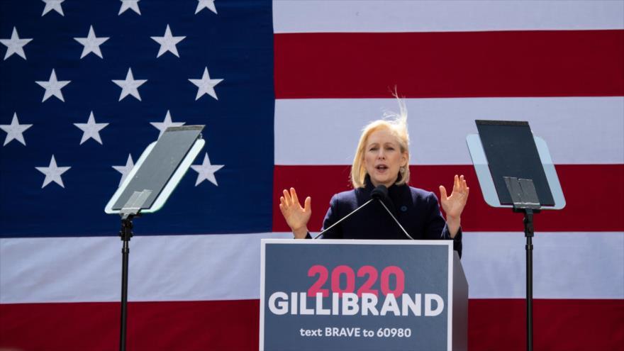 La candidata demócrata Kirsten Gillibrand durante el mitin de su campaña por la presidencia de EE.UU., 24 de marzo de 2019 en Nueva York. (Foto: AFP)