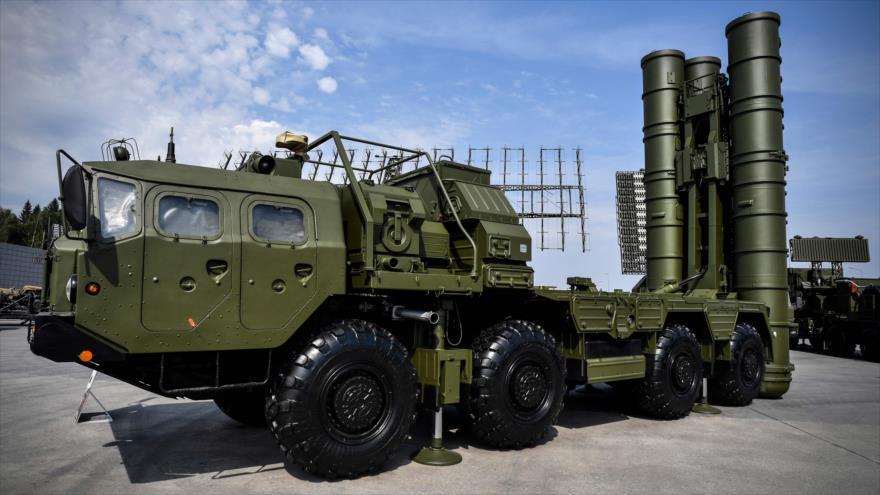 Un sistema de misil S-400 de Rusia, en Moscú, capital, 22 de agosto de 2017.