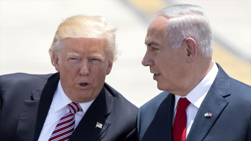 El presidente de EE.UU., Donald Trump (izda.), y el premier israelí, Benjamín Netanyahu, en Tel Aviv, 22 de mayo de 2017. (Foto: AFP)