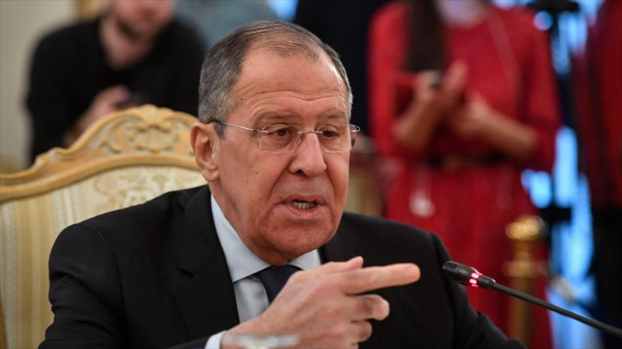 El canciller ruso, Serguéi Lavrov, durante un acto en Moscú (la capital de Rusia), 19 marzo de 2019. (Foto: AFP)