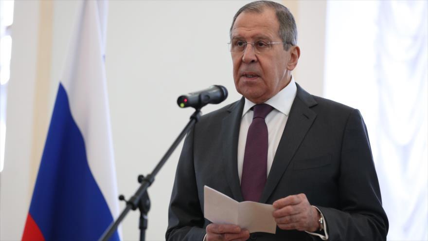 El canciller ruso, Serguéi Lavrov, habla en una exhibición en Moscú, 11 de marzo de 2019. (Foto: mid.ru)