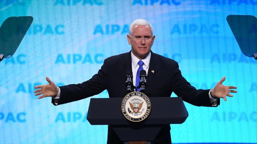 El vicepresidente de EE.UU., Mike Pence, en la conferencia anual del AIPAC, en Washington. 25 de marzo de 2019. (Foto: AFP)