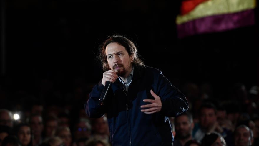 El líder de Podemos, Pablo Iglesias, en un mitin de campaña electoral en Madrid, 23 de marzo de 2019. (Foto: AFP)