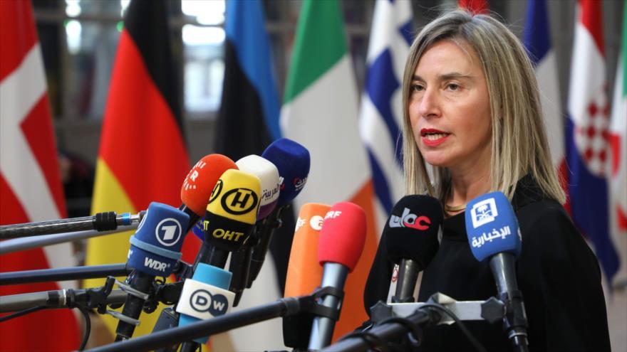 La jefa de la Diplomacia de la Unión Europea, Federica Mogherini, habla en una rueda de prensa en Bruselas, 21 de marzo de 2019. (Foto: AFP)