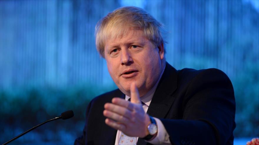 Boris Johnson, entonces secretario británico de Exteriores, habla en una conferencia en Nueva Delhi (La India), 18 de enero de 2017. (Foto: AFP)