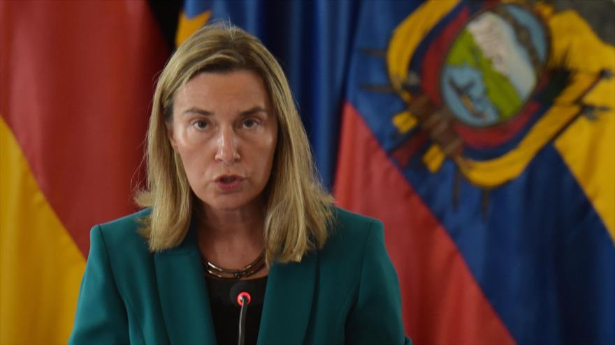 La jefa de la Diplomacia europea, Federica Mogherini, en la II Reunión del Grupo de Contacto Internacional sobre Venezuela, en Quito, el 28 de marzo de 2019.