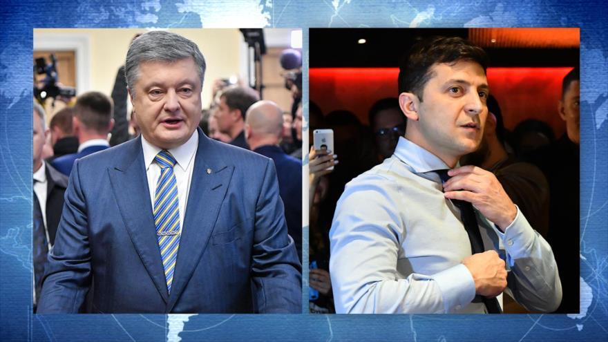 El comediante ucraniano Vladimir Zelenski (dcha.) y el actual líder del país, Petro Poroshenko.