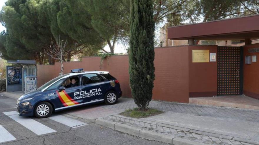 La entrada de la embajada de Corea del Norte en Madrid, capital de España.