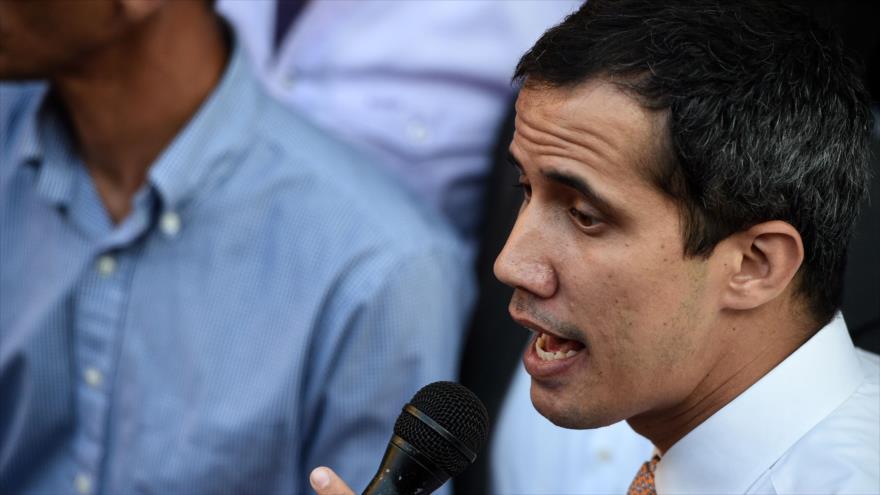 Un mitin del líder opositor venezolano y autoproclamado presidente interino, Juan Guaidó, en el vecindario de San Bernardino en Caracas el 1 de abril de 2019.