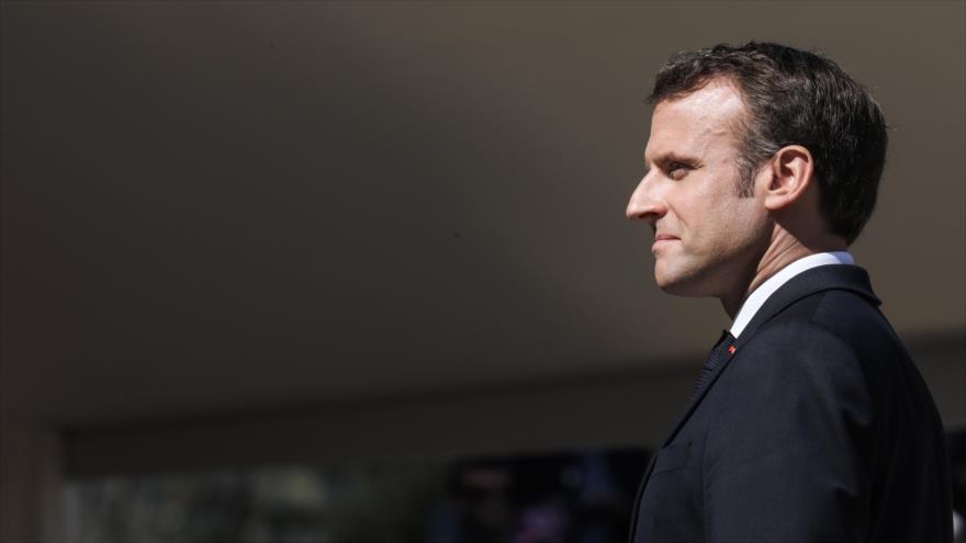 El presidente de Francia, Emmanuel Macron, en un acto de homenaje a los héroes de la II Guerra Mundial, Thones, Francia, 31 de marzo de 2019. (Foto: AFP)