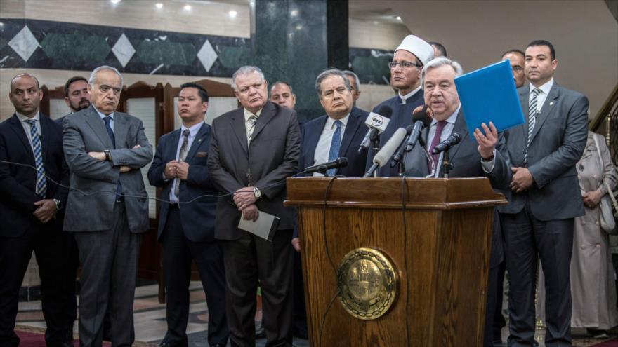 Titular de la ONU, Antonio Guterres, pronuncia un discurso en El Cairo, capital egipcia, 2 de abril de 2019. (Foto: AFP)