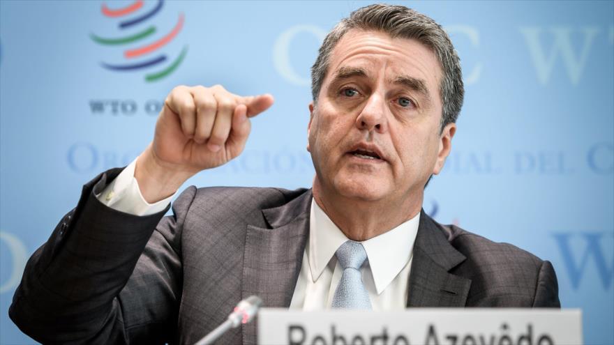 El director general de la OMC, Roberto Azevedo, ofrece una conferencia de prensa en Ginebra, 2 de abril de 2019. (Foto: AFP)