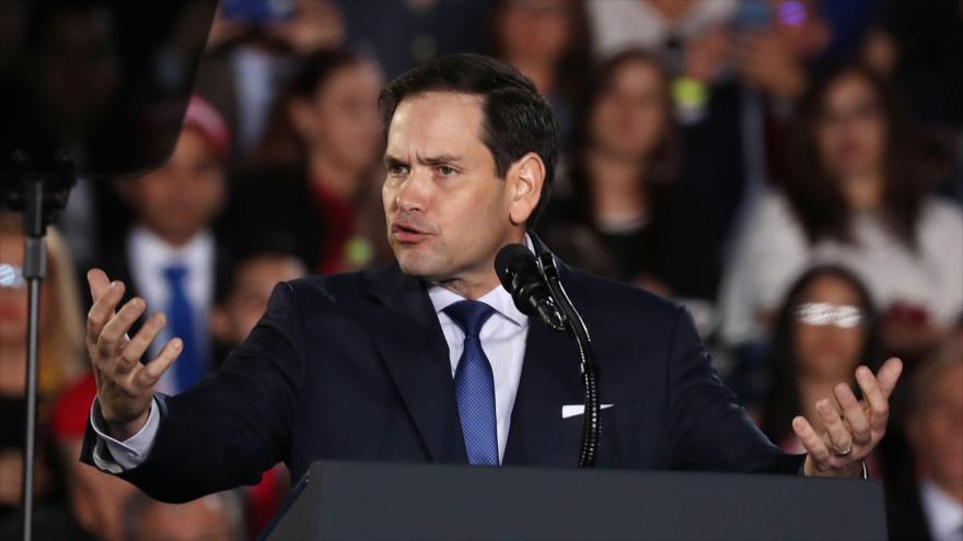 El senador republicano estadounidense Marco Rubio, en un mitin antivenezolano en Florida (sudeste), 18 de febrero de 2019. (Foto: AFP)