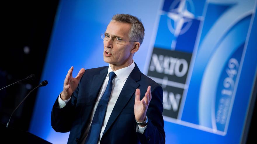 Secretario general de la OTAN, Jens Stoltenberg, en una rueda de prensa al término de la cumbre de Washington, 4 de abril de 2019. (Foto: AFP)
