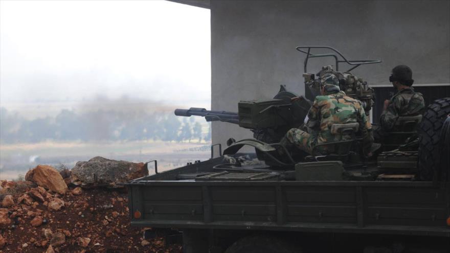 Fuerzas del Ejército de Siria durante una operación contra los terroristas en la provincia siria de Latakia, noroeste de Siria, 19 de octubre de 2019.