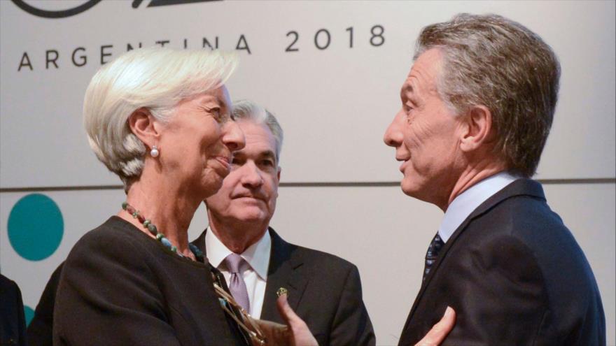 La directora gerente del Fondo Monetario Internacional (FMI), Christine Lagarde, se reúne con el presidente de Argentina, Mauricio Macri.