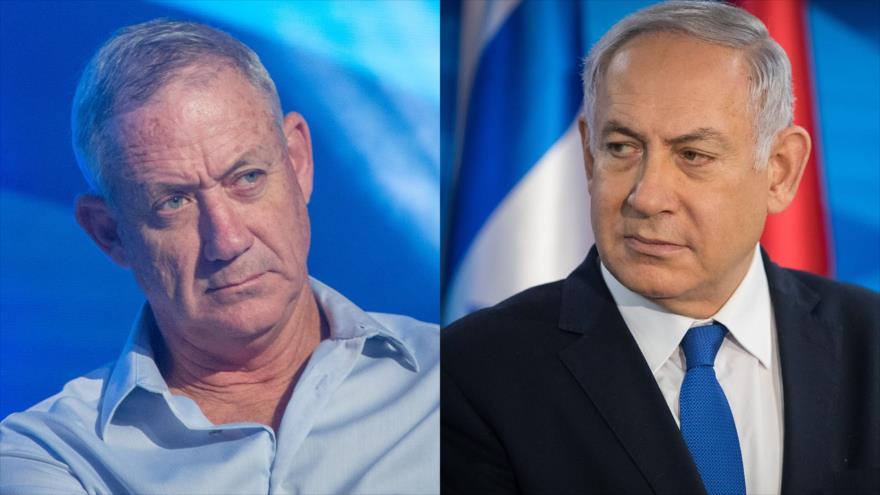 Benny Gantz (izda.), el líder del partido israelí de centro derecha Azul y Blanco, y el premier del régimen de Israel, Benjamín Netanyahu.