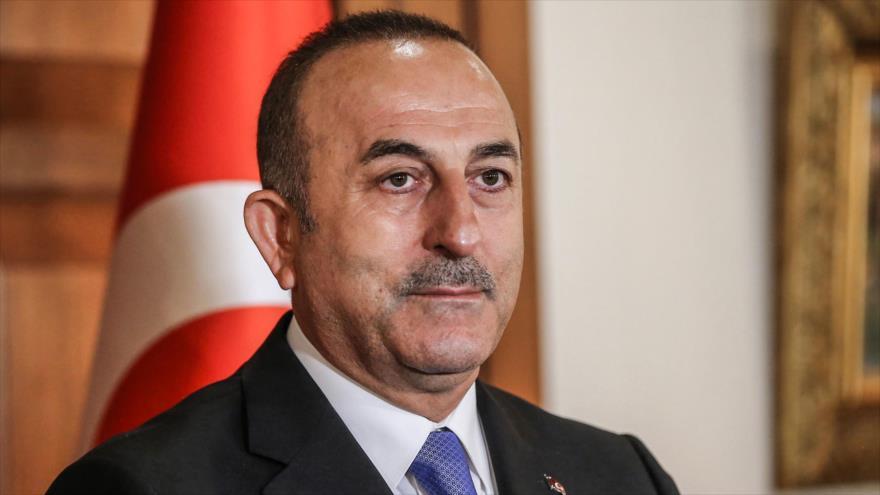 El canciller turco, Mevlut Cavusoglu, habla en una rueda de prensa en Ankara, la capital, 9 de abril de 2019. (Foto: AFP)
