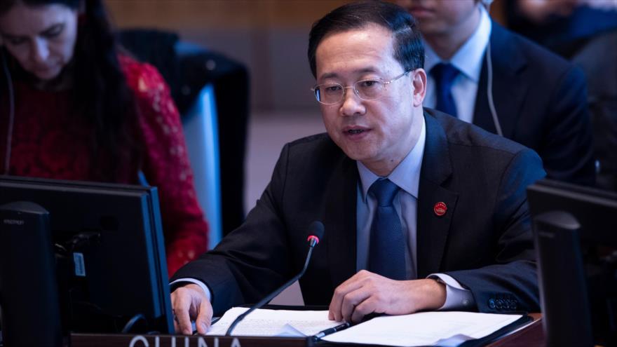 Ma Zhaoxu, embajador de China ante la ONU, durante una sesión del Consejo de Seguridad, 10 de abril de 2019. (Foto: Reutres)