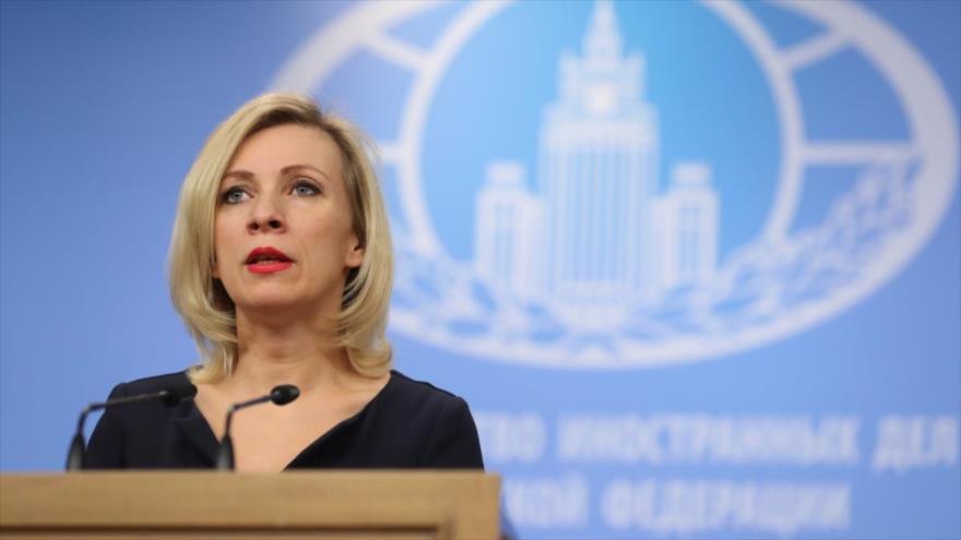 María Zajarova, portavoz del Ministerio ruso de Asuntos Exteriores, en una rueda de prensa en el Kremlin, en Moscú (capital rusa). (Foto: VVesti)