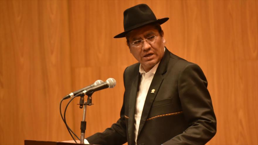 El canciller boliviano, Diego Pary, en un acto celebrado en La Paz (Capital de Bolivia), 11 de abril de 2019. (Foto: ABI)