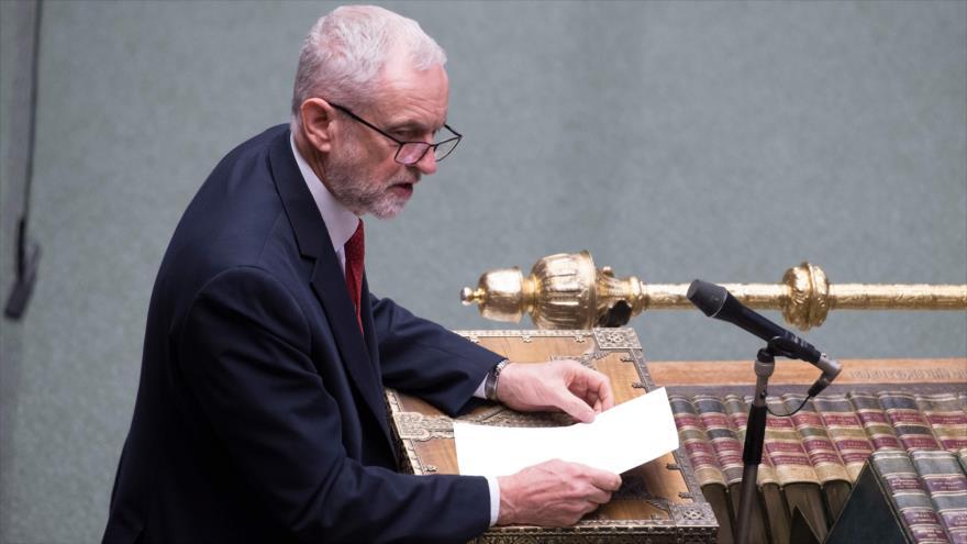 El líder del Partido Laborista británico, Jeremy Corbyn, en una sesión de la Cámara de los Comunes del Reino Unido, 11 de abril de 2019. (Foto: AFP)
