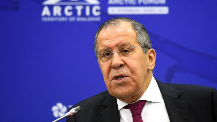 El canciller de Rusia, Serguéi Lavrov, durante una reunión en la ciudad rusa de San Petersburgo, 9 de abril de 2019. (Foto: AFP)
