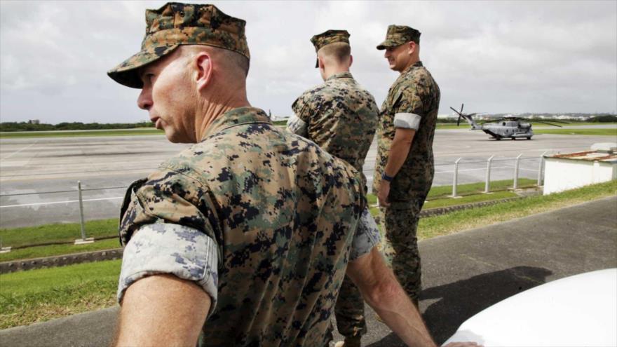 Militares del Cuerpo de Infantería de Marina de EE.UU. en la base de Futenma, en la isla japonesa de Okinawa.