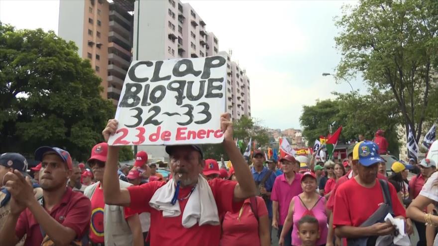 Marcha chavista en aniversario de la Milicia Nacional Bolivariana