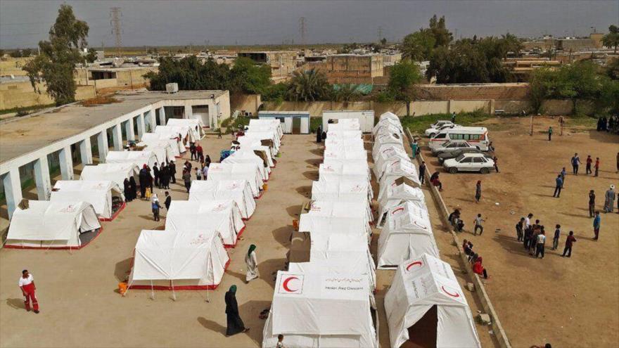 Un campamento de emergencia para los afectados por las inundaciones en Irán, provincia sureña de Juzestán, 4 de abril de 2019. (Foto: MEHER)
