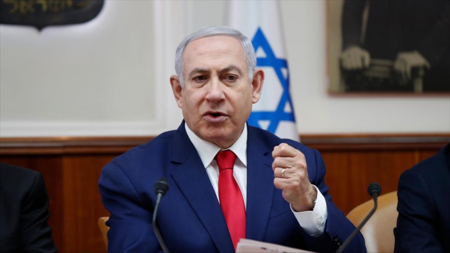 El primer ministro de Israel, Benjamín Netanyahu, en una reunión con su gabinete en Al-Quds (Jerusalén), 14 de abril de 2019. (Foto: AFP)
