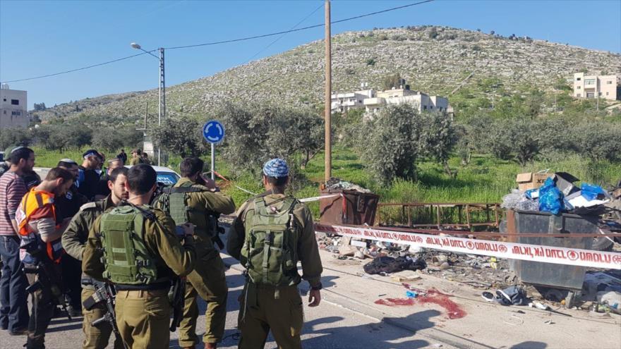 La escena del asesinato de Muhamad Abdel Fattah en Nablus, en la ocupada Cisjordania, 3 de abril de 2019.