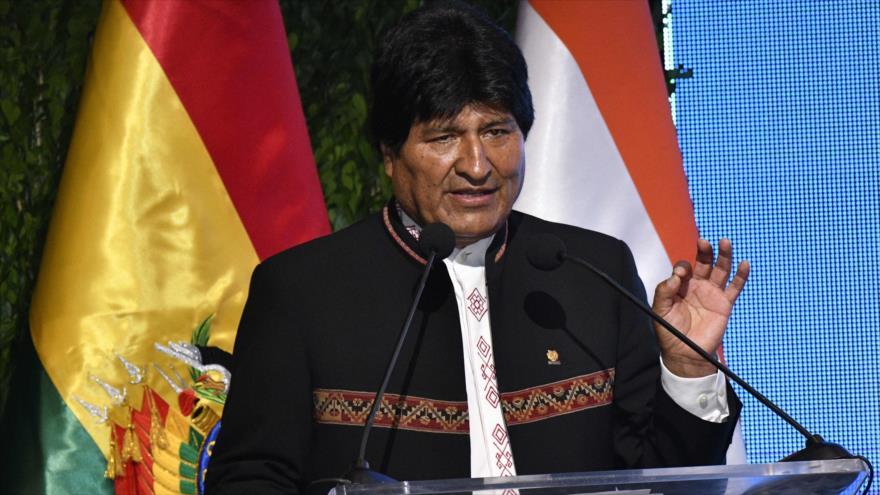 El presidente de Bolivia, Evo Morales, ofrece un discurso en Santa Cruz, 29 de marzo de 2019. (Foto: AFP)
