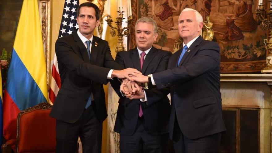 De izquierda a derecha, el golpista Juan Guaidó, el presidente de Colombia, Iván Duque y el vicepresidente de Estados Unidos, Mike Pence.