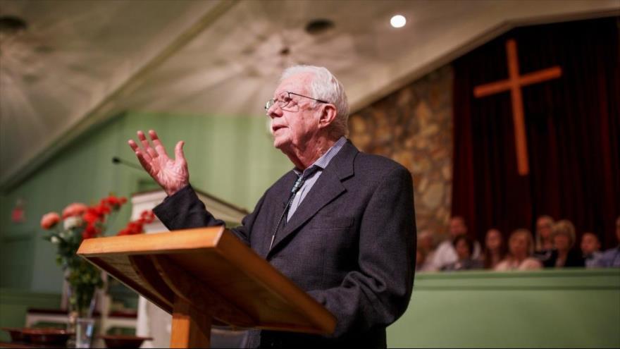 El expresidente de EE.UU., Jimmy Carter, en la iglesia Bautista Maranatha, en su ciudad natal de Plains, en estado de Georgia, 13 de abril de 2019.