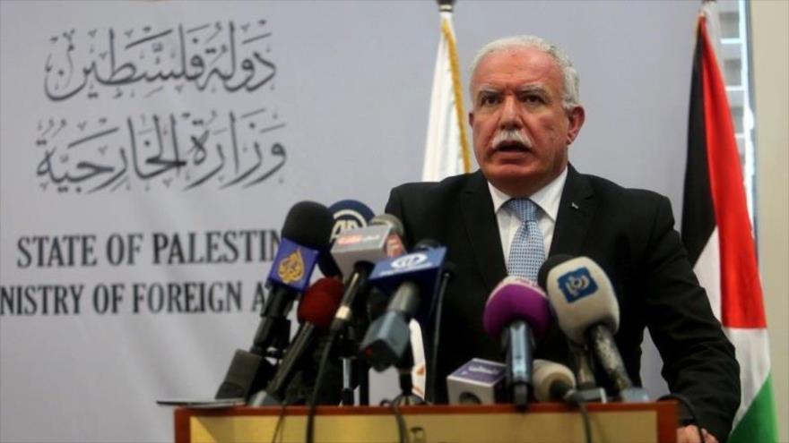 El ministro palestino de Asuntos Exteriores,Riad al-Maliki, en una rueda de prensa.