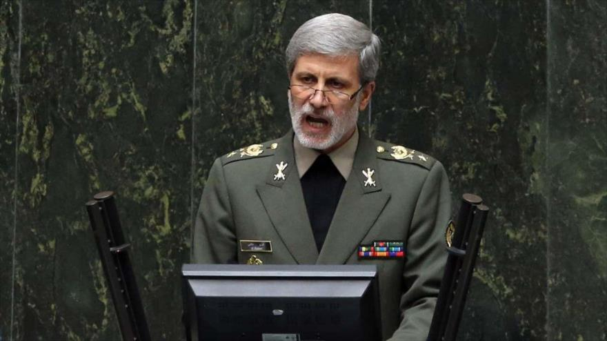 El ministro iraní de Defensa, el general de brigada Amir Hatami, ofrece discurso en el Parlamento, 16 de abril de 2019. (Foto: IRNA)