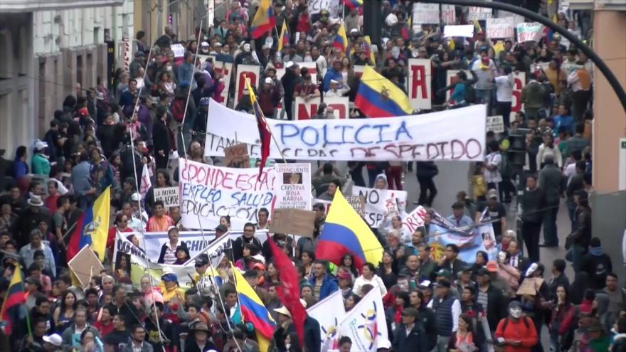 Policía ecuatoriana reprime protesta contra Lenín Moreno | HISPANTV